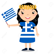 Holding The Flag Smiling Chilld Holding A Greece Flag Isolated On White