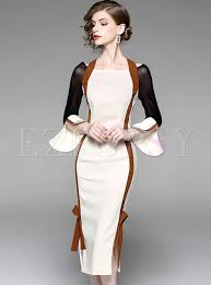 bodycon dress stylish flare sleeve slash neck bodycon dress ezpopsy