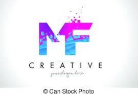 mf design vector clipart of mf m f pink vintage retro letter company logo