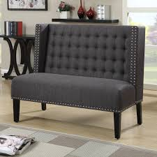 Black Wooden Bench Indoor Furniture Modern Decorative Settee For Living Room Black Tuxedo