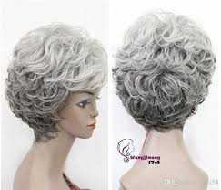 ladies hair pieces for gray hair new old women grandma hairpieces mixed grey curly lady wigs