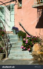 typical pink french pastel colored village stock photo 71526679