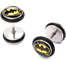 batman earrings batman steel stud ear plugs walmart