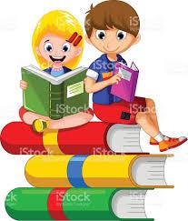 imagenes educativas animadas aprendizaje de dos niños en la reservación arte vectorial de stock
