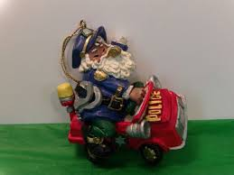 santa claus police officer christmas tree ornament collectible