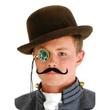 steampunk mens hat monicle mustache costume set