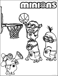 minion playing basketball coloring pages wecoloringpage