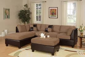 microfiber sectional with ottoman poundex reversible 3 pcs microfiber sectional sofa set