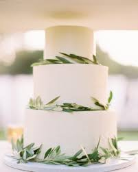 simple olive branch leaves wedding cake once wed