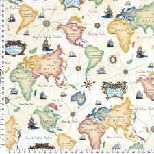 Yellow Home Decor Fabric World Map Fabric Home Decor Fabric America Asia Africa Europe