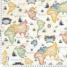 Yellow Home Decor Fabric World Map Fabric Home Decor Fabric America Asia Africa Europe