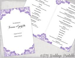 wedding booklet templates catholic wedding program template wisteria lavender