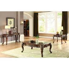 logan coffee table set homelegance logan 3 piece coffee table set in warm cherry beyond