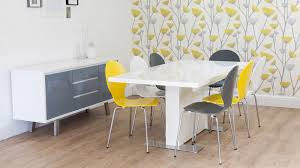 White Dining Table And Coloured Chairs Modern Large Rectangular White Gloss Extending Dining Table