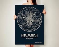 map of maryland to print frederick maryland etsy