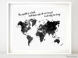 Printable world map in watercolor style the world is a book and
