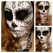 Scary Skeleton Face Painting Halloween by Day Of The Dead Dia De Los Muertos Sugar Skull Face Paint
