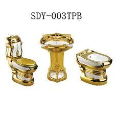 ceramic gold color toilet bowl basin bidet bathroom golden toilet