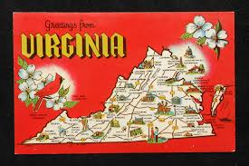 State Of Virginia Map by 1960s Virginia State Map Landmarks Icons Bird Flower Va Postcard