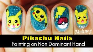 pokemon go nail art using non dominant hand pikachu design