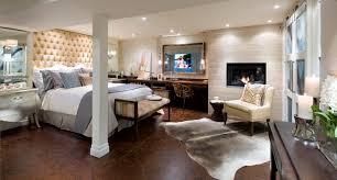 bright basement bedroom ideas with fancy tufted headboard ideas