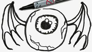 how to draw a cartoon halloween eyeball with bat wings easy