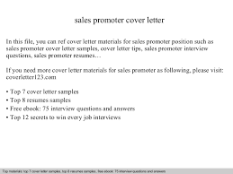 Promoter Resume Example by Sales Promoter Cover Letter