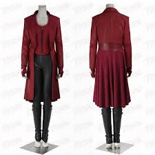 Red Coat Halloween Costume Captain America Civil War Scarlet Witch Cosplay Costume