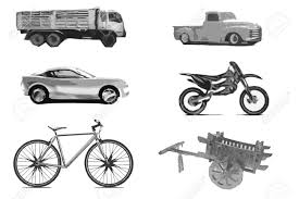 truck car black truck car bike cart motorcycle pick up in white background stock