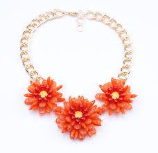 orange statement necklace images Fashion shiny gold color white orange acrylic stone women flower jpg