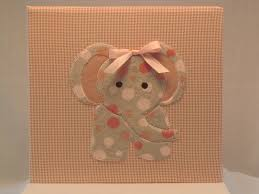 fabric photo album 12x12 postbound fabric scrapbook album baby girl elephant applique