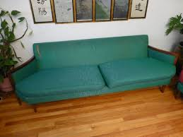 mid century couch sofa u0026 love seat by peck u0026 hills green wood mad
