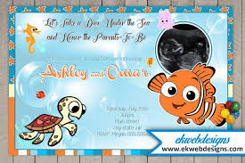 smurfs baby shower invitations sonogram baby shower invitations featuring finding nemo