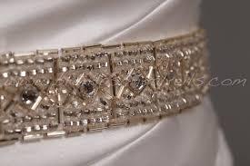 light gold and crystal rhinestone dress sash art deco wedding