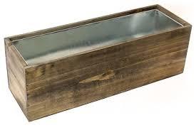 cys natural wood window box planter w zinc liner rustic