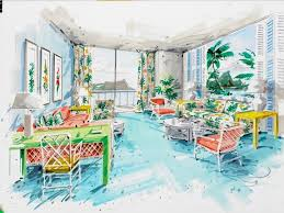 Dorothy Draper Interior Designer An On The Spot Rendering Done By Dorothy Draper While She Was With