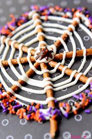 Halloween Treats Pretzel Candy Spiderwebs For Halloween