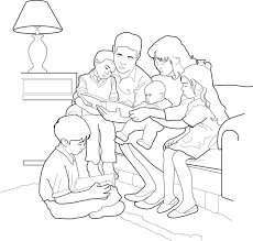 a family reading together childrens coloring page from lds org