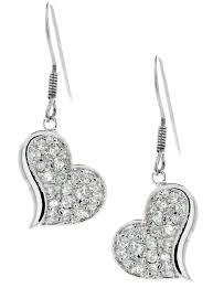 dangling earrings sterling silver cz pave heart dangling earrings artune jewelry