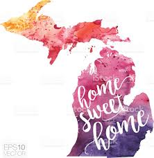 Map Of Michigan Lakes Home Sweet Home Vector Watercolor Map Of Michigan Stock Vector Art