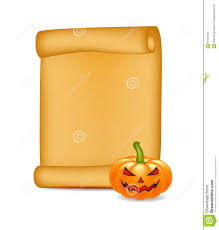 free halloween background paper halloween banner card with empty paper scroll and pumpkin blank