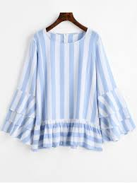 striped blouse tiered flare sleeve ruffles striped blouse blue stripe blouses xl