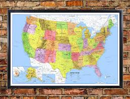 map usa oceans classic premier united states blue oceans wall map