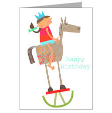 rocking horse birthday card by kali stileman publishing
