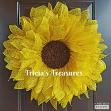 burlap sunflower wreath yellow sunflower wreath sunflower wreath poly burlap