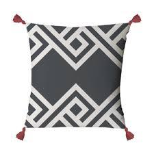 coussin imprime housse de coussin imprimé avec pompons linge de lit noir blanc