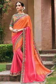 bangladesh saree attractive faux georgette embroidered work un stitched sarees in