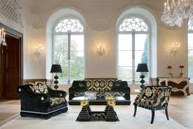 beautiful modern victorian style living room with black patterned