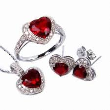 earring necklace ruby images 925 sterling silver heart shape ruby pendant earrings and necklace jpg