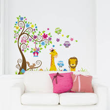 cartoon animal lion owl giraffe stickers art decor mural wall